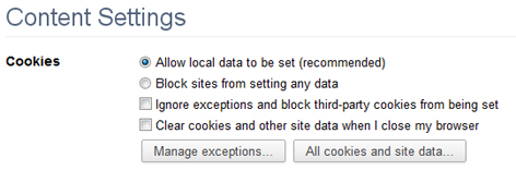 Enabling Cookies in Google Chrome 10-11