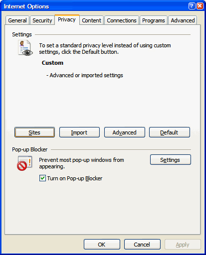 Enabling Cookies in Internet Explorer 7.0
