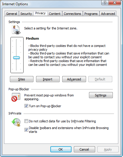 Enabling Cookies in Internet Explorer 9.0