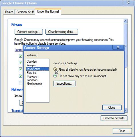 Enabling JavaScript in Google Chrome