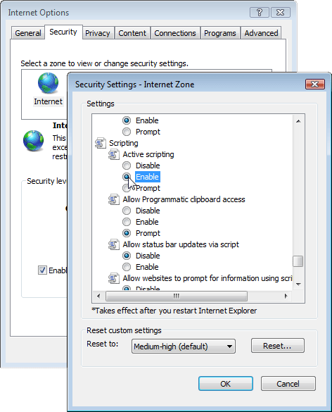 Enabling JavaScript in Internet Explorer 7 & 8